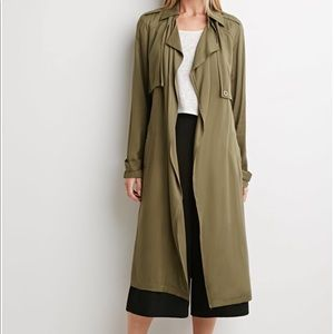Jackets & Blazers - Olive green duster jacket